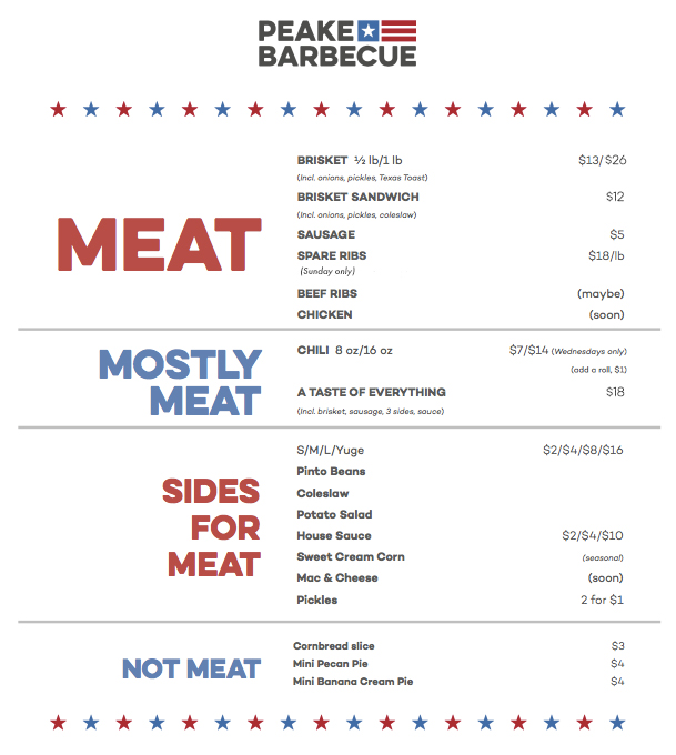 Peake Barbecue menu (image)
